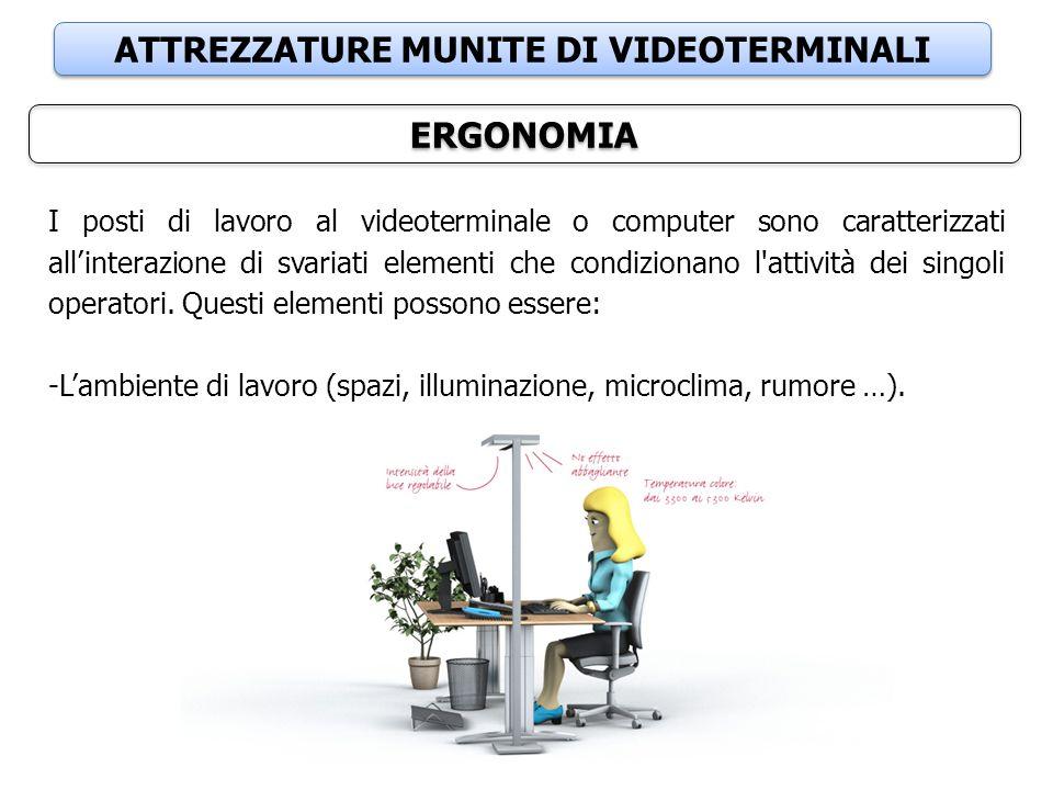ATTREZZATURE MUNITE DI VIDEOTERMINALI ERGONOMIA I posti di lavoro al videoterminale o computer sono caratterizzati all'interazione di svariati element