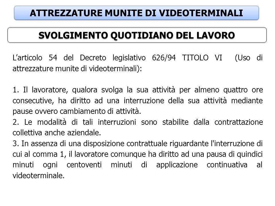 ATTREZZATURE MUNITE DI VIDEOTERMINALI SVOLGIMENTO QUOTIDIANO DEL LAVORO L'articolo 54 del Decreto legislativo 626/94 TITOLO VI (Uso di attrezzature mu
