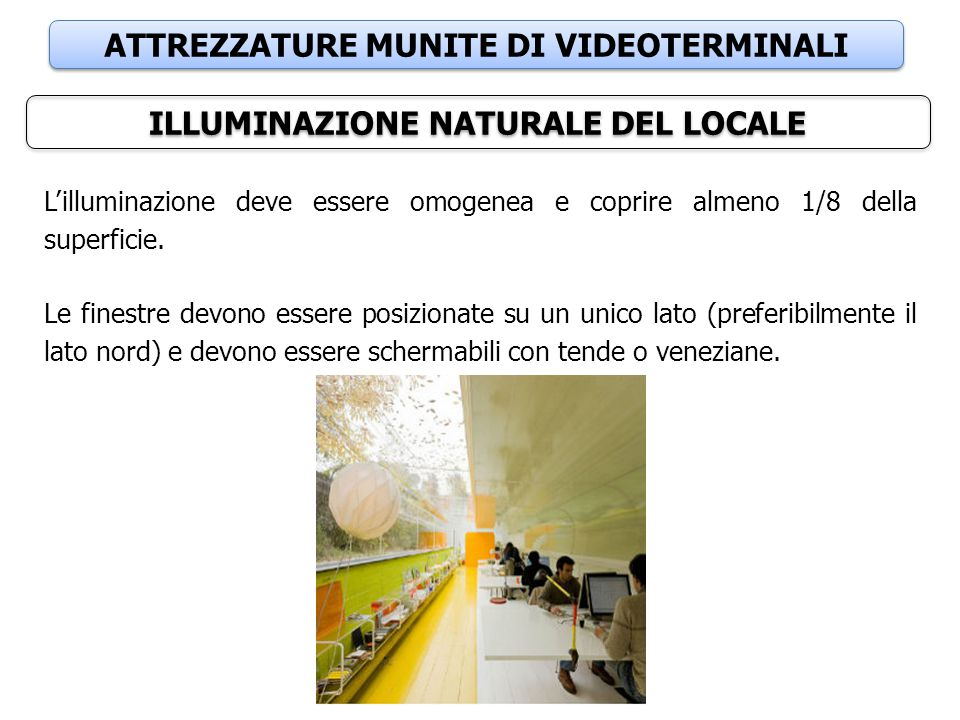 ATTREZZATURE MUNITE DI VIDEOTERMINALI ILLUMINAZIONE NATURALE DEL LOCALE L'illuminazione deve essere omogenea e coprire almeno 1/8 della superficie. Le