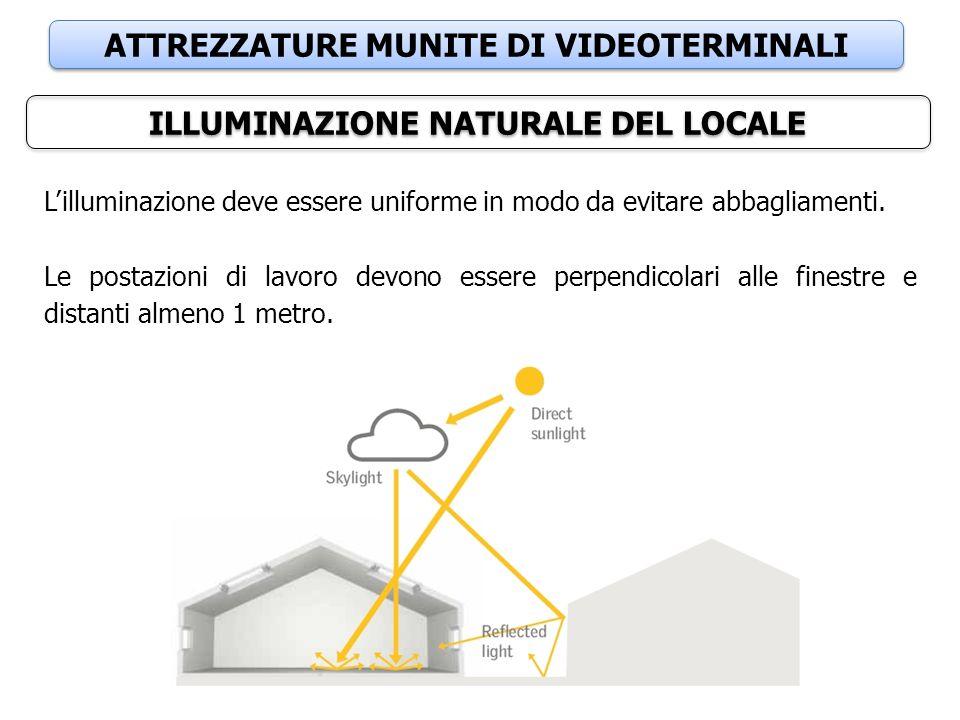 ATTREZZATURE MUNITE DI VIDEOTERMINALI ILLUMINAZIONE NATURALE DEL LOCALE L'illuminazione deve essere uniforme in modo da evitare abbagliamenti. Le post