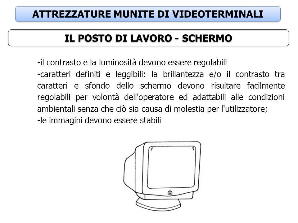 ATTREZZATURE MUNITE DI VIDEOTERMINALI IL POSTO DI LAVORO - SCHERMO -il contrasto e la luminosità devono essere regolabili -caratteri definiti e leggib
