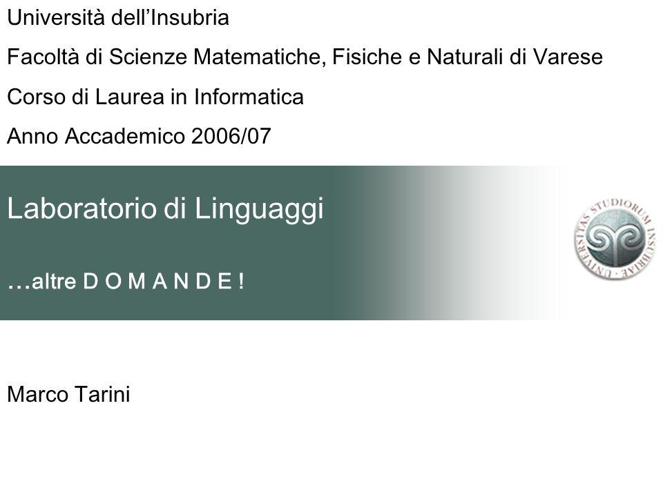 Laboratorio di Linguaggi... altre D O M A N D E ! Marco Tarini Università dell'Insubria Facoltà di Scienze Matematiche, Fisiche e Naturali di Varese C