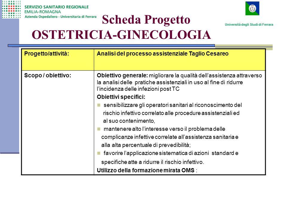Scheda Progetto OSTETRICIA-GINECOLOGIA Progetto/attività:Analisi del processo assistenziale Taglio Cesareo Scopo / obiettivo:Obiettivo generale: migli