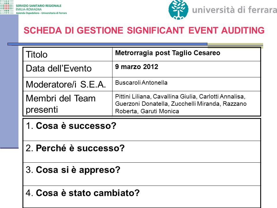 Titolo Metrorragia post Taglio Cesareo Data dell'Evento 9 marzo 2012 Moderatore/i S.E.A. Buscaroli Antonella Membri del Team presenti Pittini Liliana,