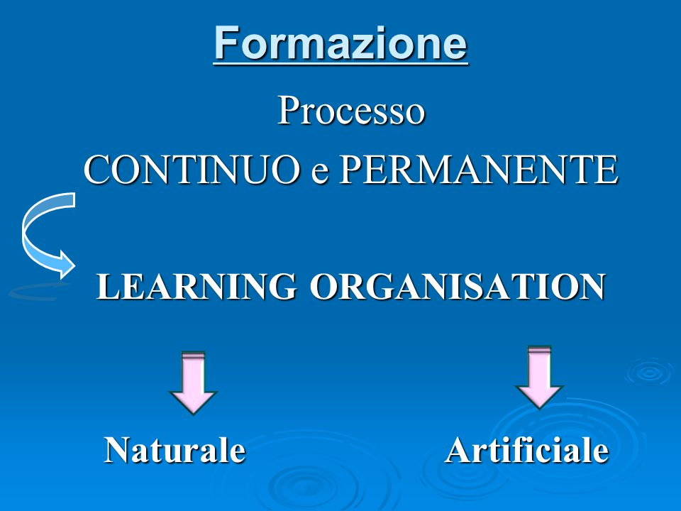 Formazione Processo CONTINUO e PERMANENTE LEARNING ORGANISATION Naturale Artificiale