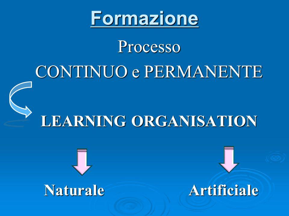 Formazione Processo CONTINUO e PERMANENTE LEARNING ORGANISATION Naturale Artificiale