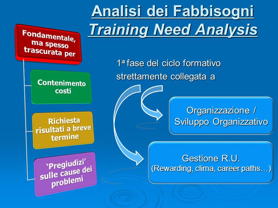 Analisi dei Fabbisogni Training Need Analysis 1 a fase del ciclo formativo strettamente collegata a Organizzazione / Sviluppo Organizzativo Gestione R.U.