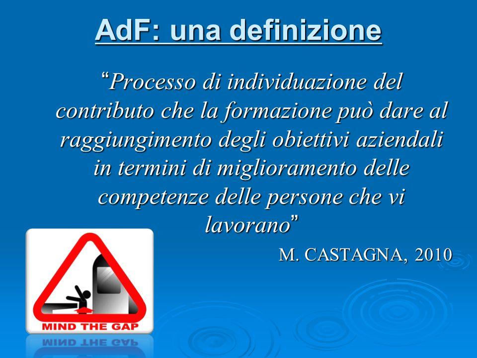 AdF: una definizione Processo di individuazione del contributo che la formazione può dare al raggiungimento degli obiettivi aziendali in termini di miglioramento delle competenze delle persone che vi lavorano M.