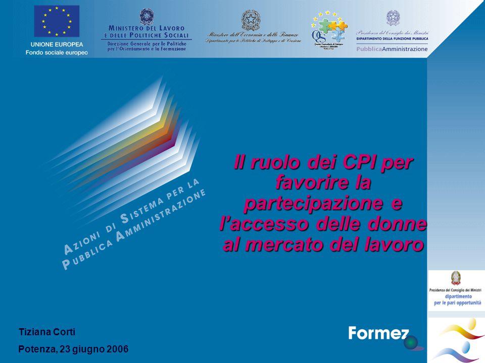 Il ruolo dei CPI per favorire la partecipazione e l'accesso delle donne al mercato del lavoro Tiziana Corti Potenza, 23 giugno 2006