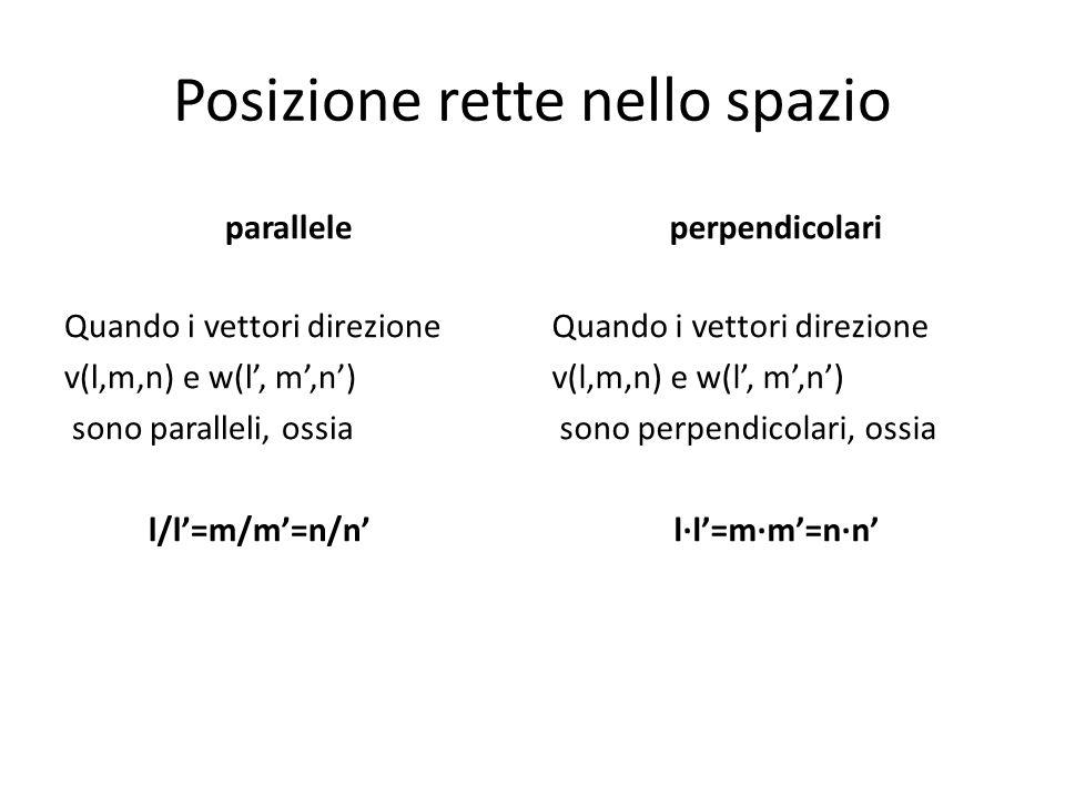 Posizione rette nello spazio parallele Quando i vettori direzione v(l,m,n) e w(l', m',n') sono paralleli, ossia l/l'=m/m'=n/n' perpendicolari Quando i