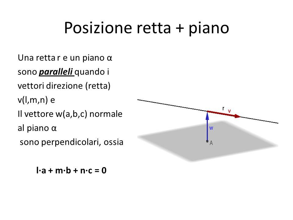 Posizione retta + piano Una retta r e un piano α sono paralleli quando i vettori direzione (retta) v(l,m,n) e Il vettore w(a,b,c) normale al piano α s