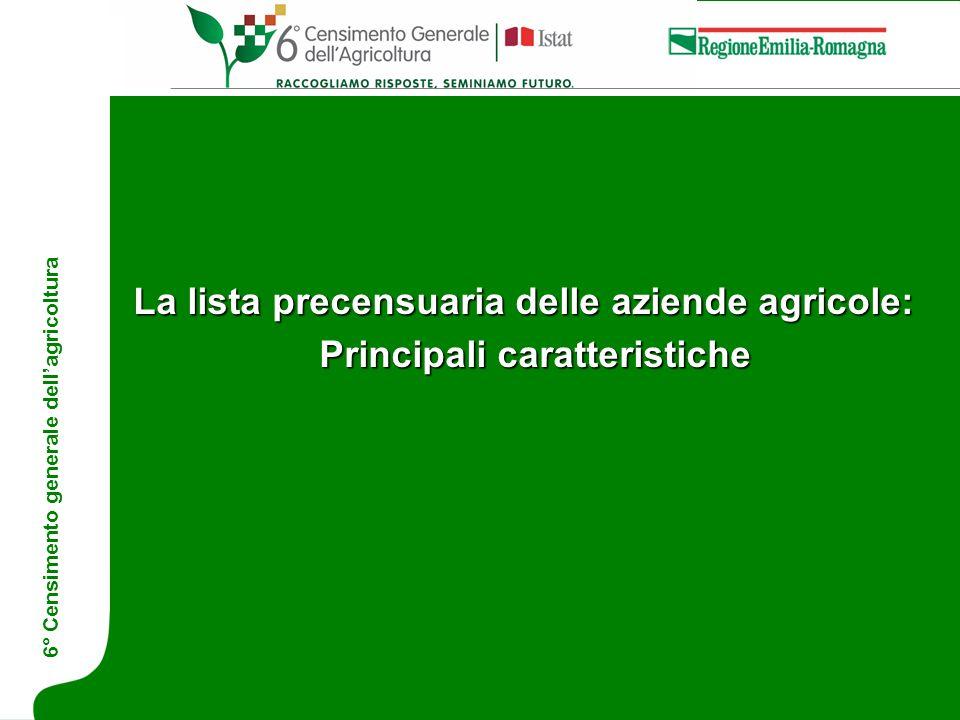 La lista precensuaria delle aziende agricole: Principali caratteristiche 6° Censimento generale dell'agricoltura