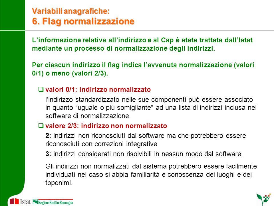Variabili anagrafiche: 6. Flag normalizzazione L'informazione relativa all'indirizzo e al Cap è stata trattata dall'Istat mediante un processo di norm