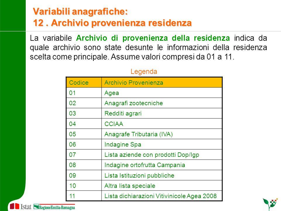La variabile Archivio di provenienza della residenza indica da quale archivio sono state desunte le informazioni della residenza scelta come principal