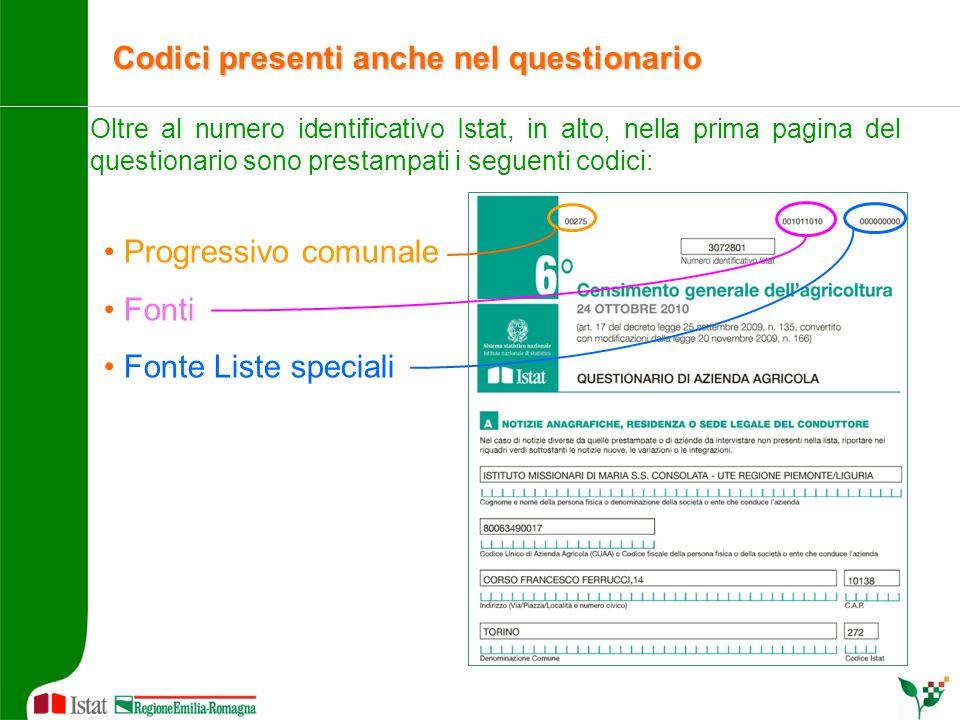 Oltre al numero identificativo Istat, in alto, nella prima pagina del questionario sono prestampati i seguenti codici: Progressivo comunale Fonti Font