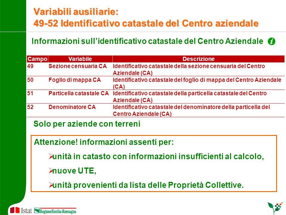 Informazioni sull'identificativo catastale del Centro Aziendale Solo per aziende con terreni Attenzione! informazioni assenti per:  unità in catasto