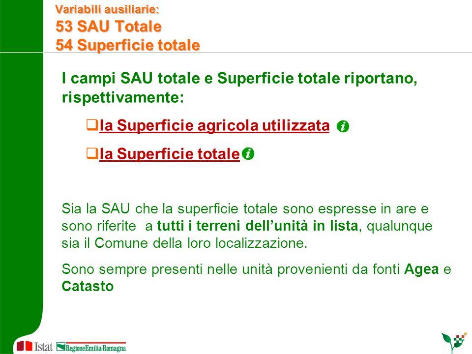 I campi SAU totale e Superficie totale riportano, rispettivamente:  la Superficie agricola utilizzata  la Superficie totale Sia la SAU che la superf