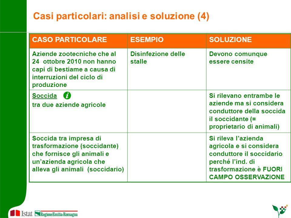 Casi particolari: analisi e soluzione (4) CASO PARTICOLAREESEMPIOSOLUZIONE Aziende zootecniche che al 24 ottobre 2010 non hanno capi di bestiame a cau