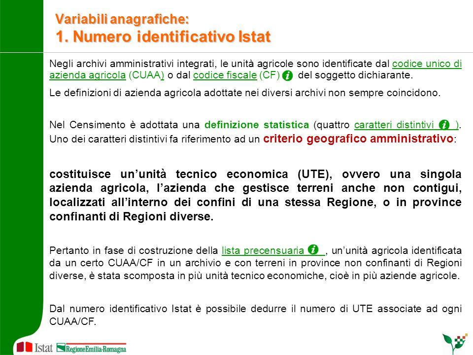 Negli archivi amministrativi integrati, le unità agricole sono identificate dal codice unico di azienda agricola (CUAA) o dal codice fiscale (CF) del