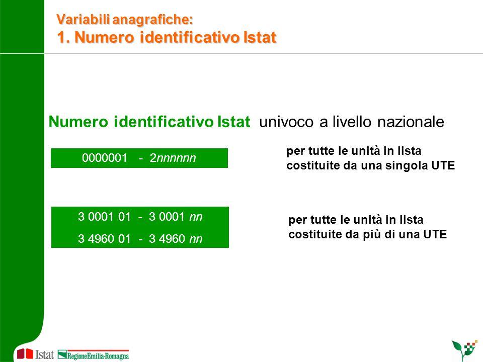 Numero identificativo Istat univoco a livello nazionale 0000001 - 2nnnnnn 3 0001 01 - 3 0001 nn 3 4960 01 - 3 4960 nn per tutte le unità in lista cost
