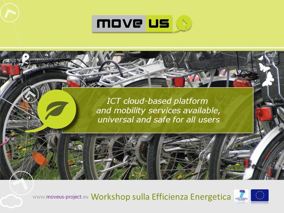 www.moveus-project.eu2 Quadro di riferimento sui consumi energetici In Europa (dati EUROSTAT 2007) Distribuzione TrasportiConsumi energetici per settore A Genova (dati PUM 2010) Ripartizione modalePass.