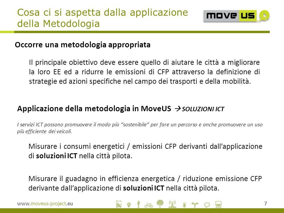 www.moveus-project.eu7 Applicazione della metodologia in MoveUS  SOLUZIONI ICT I servizi ICT possono promuovere il modo più sostenibile per fare un percorso e anche promuovere un uso più efficiente dei veicoli.