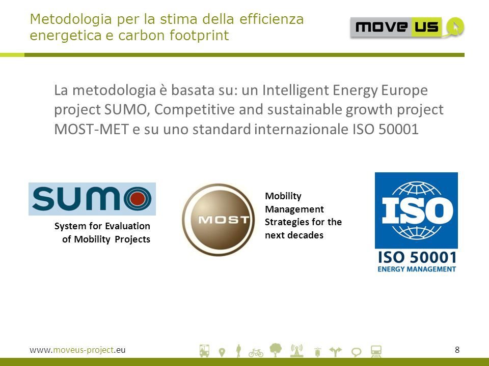 www.moveus-project.eu8 La metodologia è basata su: un Intelligent Energy Europe project SUMO, Competitive and sustainable growth project MOST-MET e su