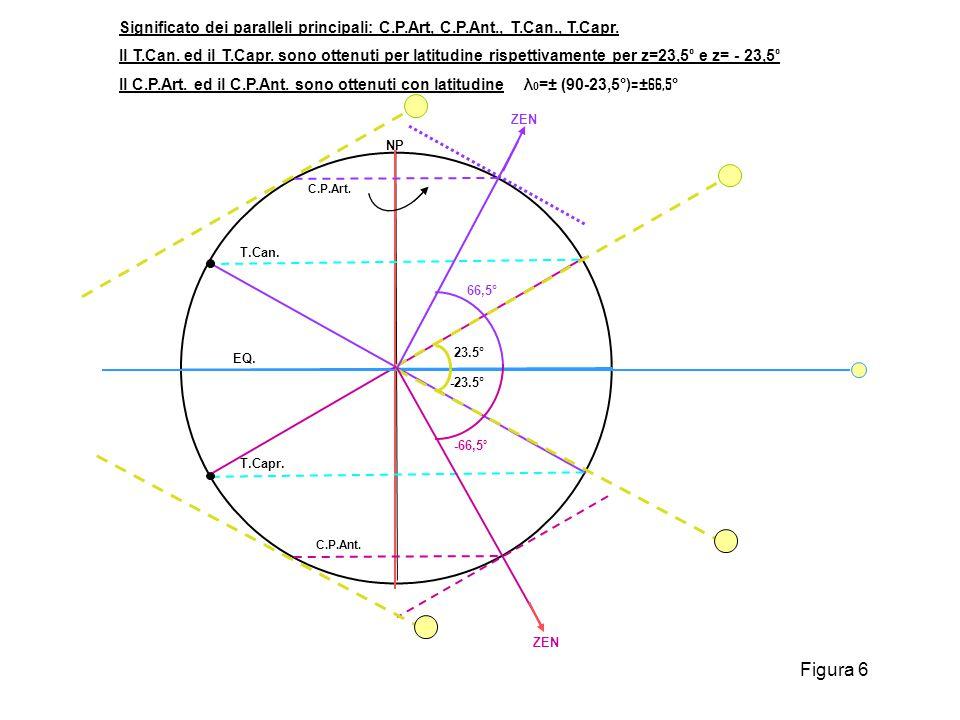 EQ. NP C.P.Ant. C.P.Art. T.Can. T.Capr. 23.5° -23.5° ZEN 66,5° -66,5 ° ZEN Significato dei paralleli principali: C.P.Art, C.P.Ant., T.Can., T.Capr. Il