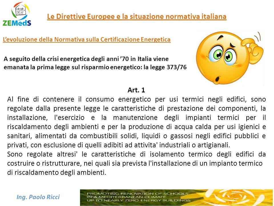 Ing. Paolo Ricci Le Direttive Europee e la situazione normativa italiana A seguito della crisi energetica degli anni '70 in Italia viene emanata la pr