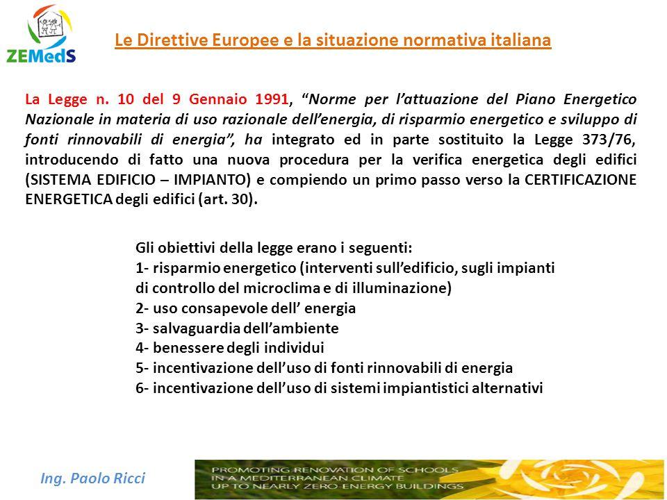 """Ing. Paolo Ricci Le Direttive Europee e la situazione normativa italiana La Legge n. 10 del 9 Gennaio 1991, """"Norme per l'attuazione del Piano Energeti"""
