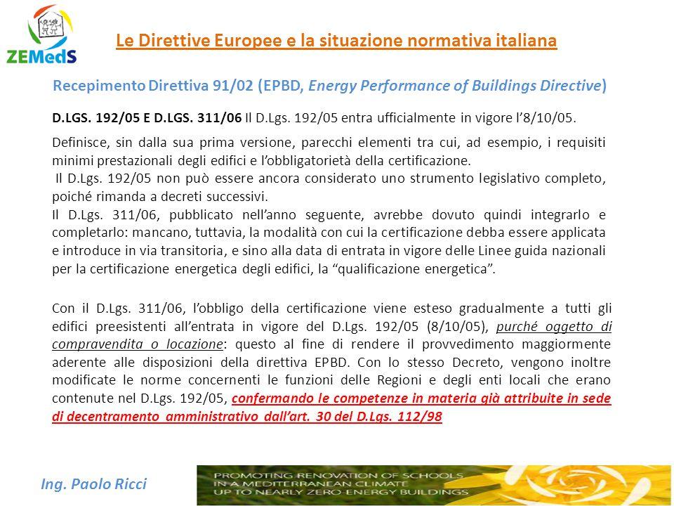 Ing. Paolo Ricci Le Direttive Europee e la situazione normativa italiana Recepimento Direttiva 91/02 (EPBD, Energy Performance of Buildings Directive)
