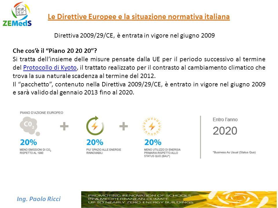 """Ing. Paolo Ricci Le Direttive Europee e la situazione normativa italiana Direttiva 2009/29/CE, è entrata in vigore nel giugno 2009 Che cos'è il """"Piano"""