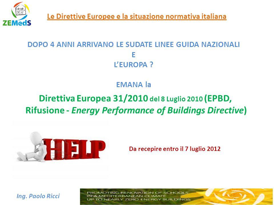 Ing. Paolo Ricci Le Direttive Europee e la situazione normativa italiana Direttiva Europea 31/2010 del 8 Luglio 2010 (EPBD, Rifusione - Energy Perform