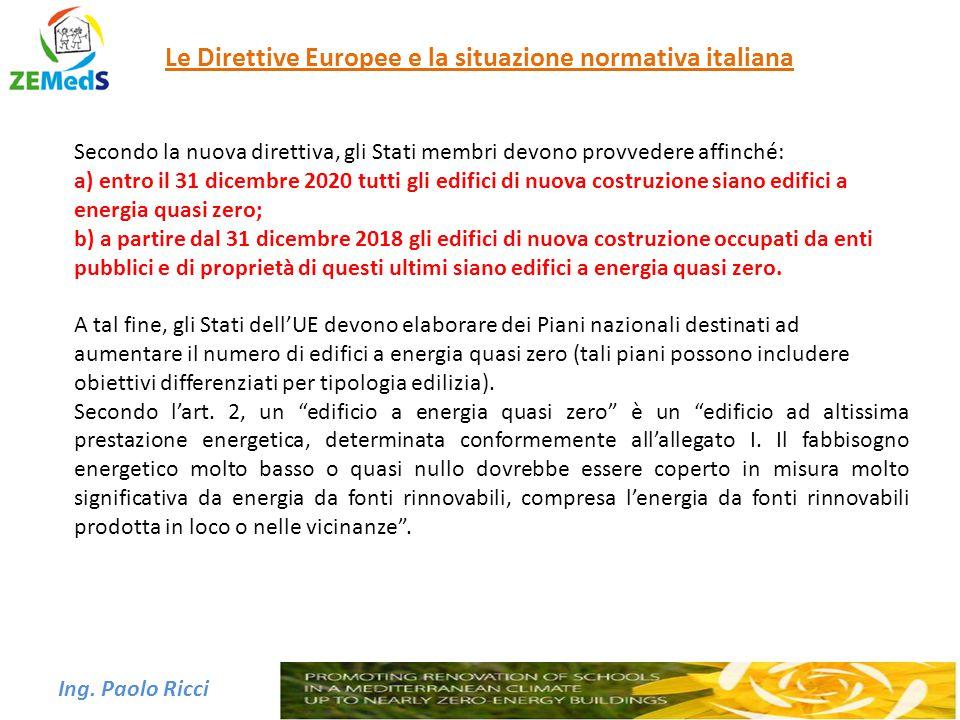 Ing. Paolo Ricci Le Direttive Europee e la situazione normativa italiana Secondo la nuova direttiva, gli Stati membri devono provvedere affinché: a) e
