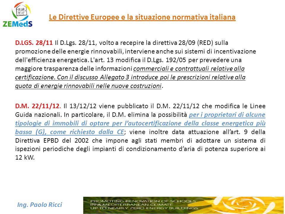 Ing. Paolo Ricci Le Direttive Europee e la situazione normativa italiana D.LGS. 28/11 Il D.Lgs. 28/11, volto a recepire la direttiva 28/09 (RED) sulla