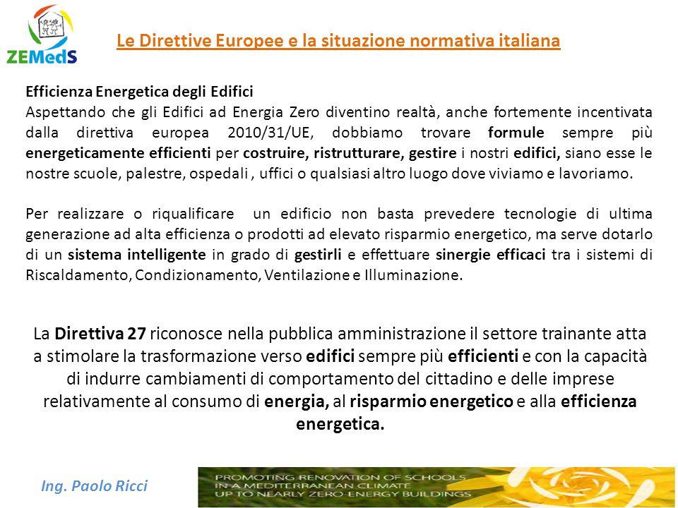 Ing. Paolo Ricci Le Direttive Europee e la situazione normativa italiana Efficienza Energetica degli Edifici Aspettando che gli Edifici ad Energia Zer