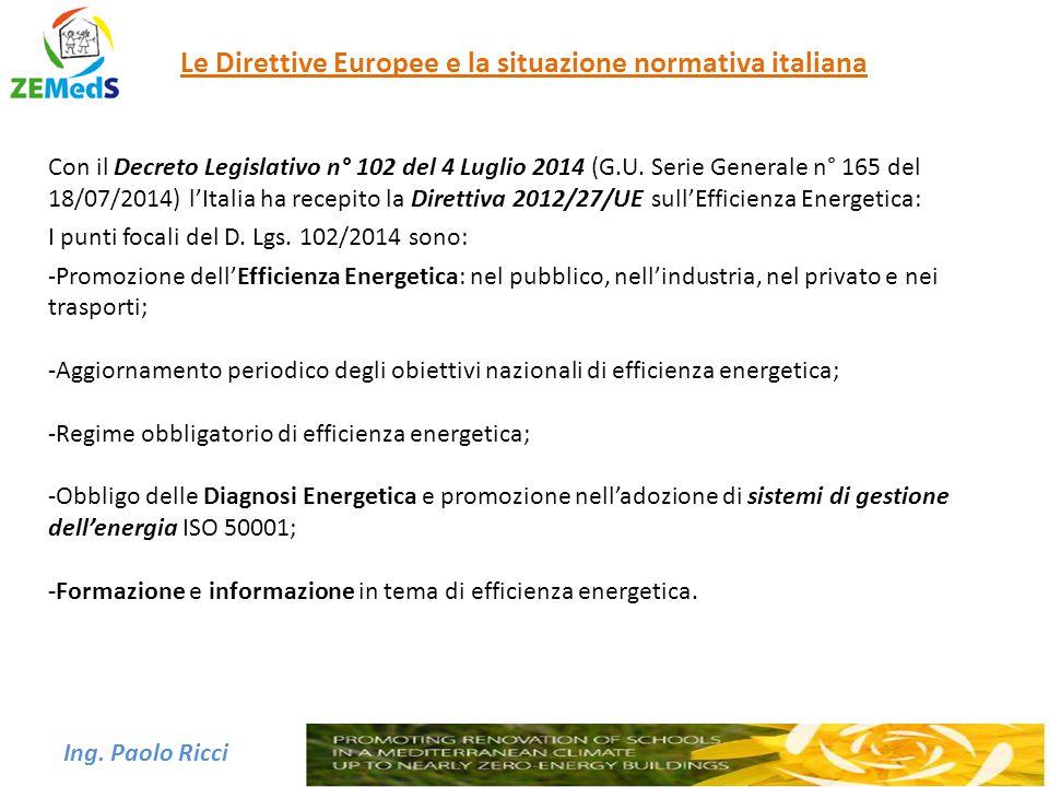 Ing. Paolo Ricci Le Direttive Europee e la situazione normativa italiana Con il Decreto Legislativo n° 102 del 4 Luglio 2014 (G.U. Serie Generale n° 1