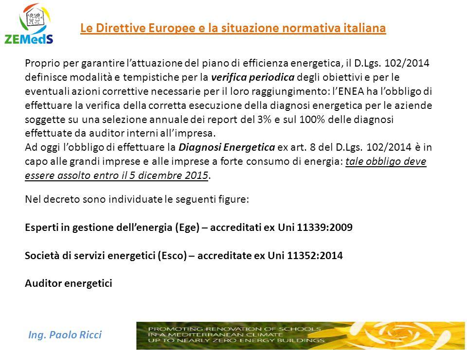 Ing. Paolo Ricci Le Direttive Europee e la situazione normativa italiana Proprio per garantire l'attuazione del piano di efficienza energetica, il D.L