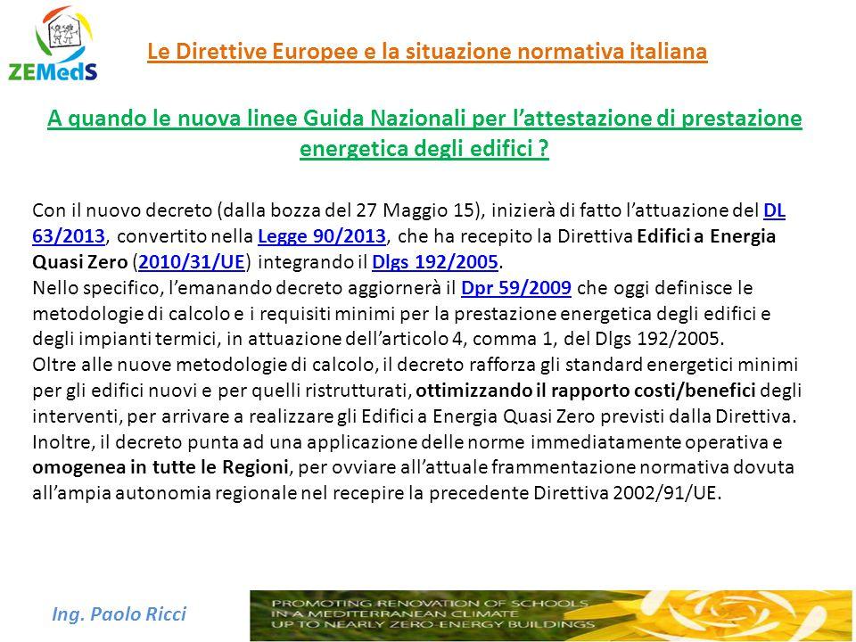 Le Direttive Europee e la situazione normativa italiana A quando le nuova linee Guida Nazionali per l'attestazione di prestazione energetica degli edi