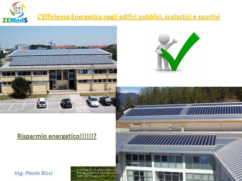 Ing. Paolo Ricci L'Efficienza Energetica negli edifici pubblici, scolastici e sportivi Risparmio energetico!!!!!!?