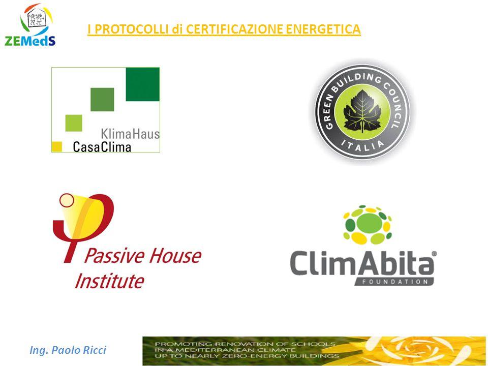Ing. Paolo Ricci I PROTOCOLLI di CERTIFICAZIONE ENERGETICA