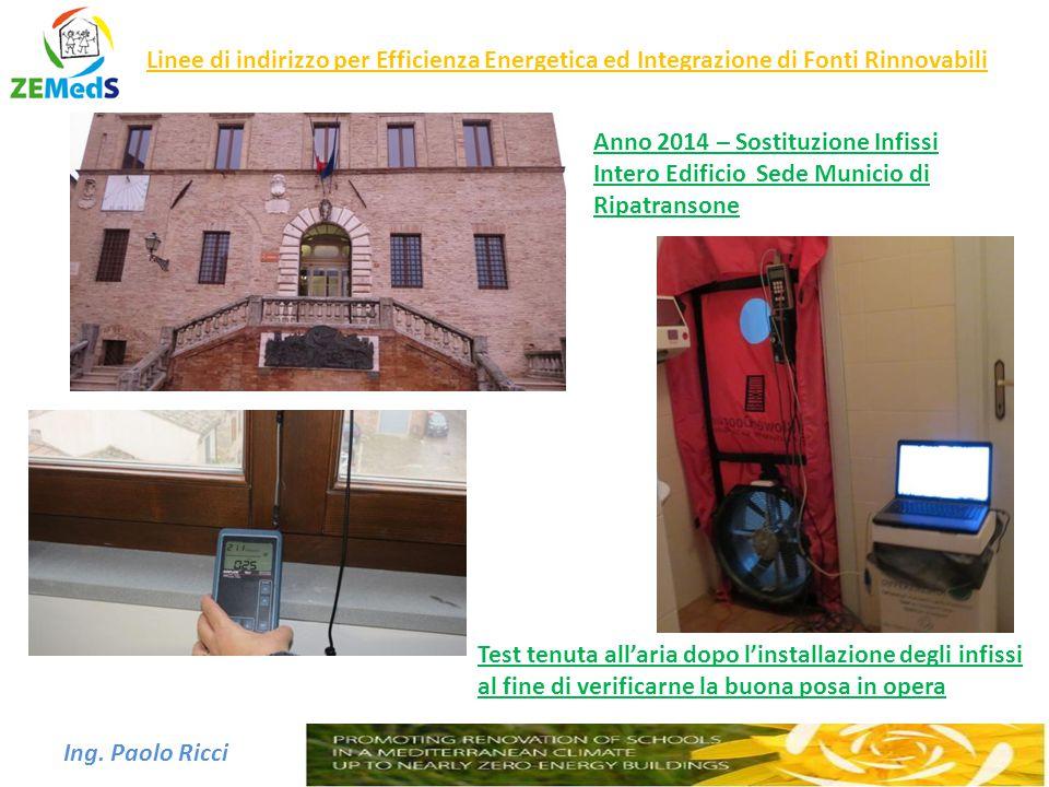 Ing. Paolo Ricci Linee di indirizzo per Efficienza Energetica ed Integrazione di Fonti Rinnovabili Anno 2014 – Sostituzione Infissi Intero Edificio Se