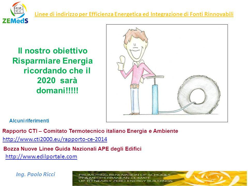 Ing. Paolo Ricci Linee di indirizzo per Efficienza Energetica ed Integrazione di Fonti Rinnovabili Il nostro obiettivo Risparmiare Energia ricordando