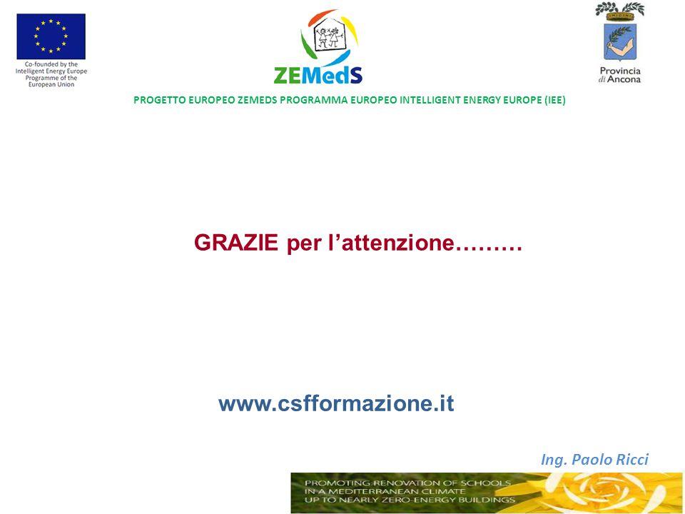 Ing. Paolo Ricci GRAZIE per l'attenzione……… PROGETTO EUROPEO ZEMEDS PROGRAMMA EUROPEO INTELLIGENT ENERGY EUROPE (IEE) www.csfformazione.it