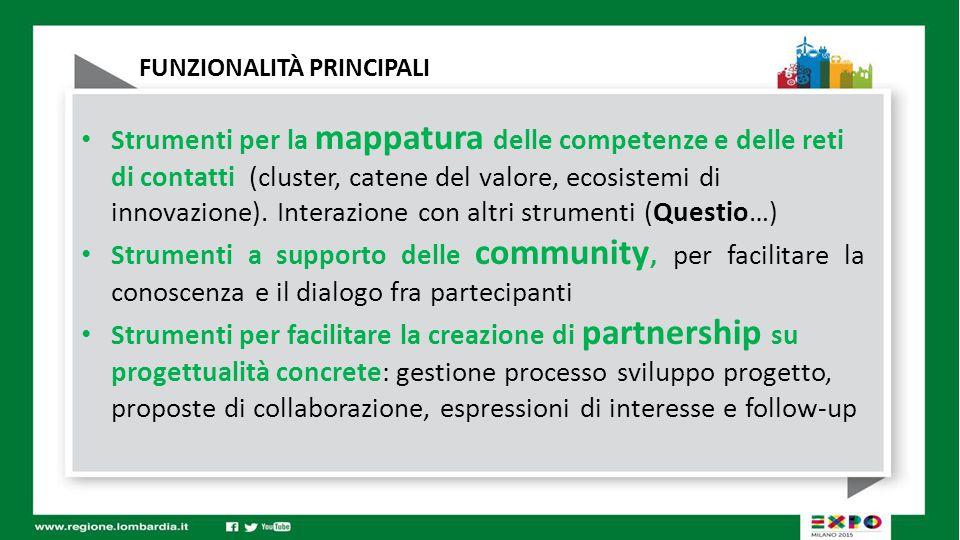 FUNZIONALITÀ PRINCIPALI Strumenti per la mappatura delle competenze e delle reti di contatti (cluster, catene del valore, ecosistemi di innovazione).