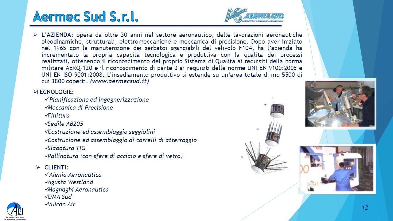  L'AZIENDA: opera da oltre 30 anni nel settore aeronautico, delle lavorazioni aeronautiche oleodinamiche, strutturali, elettromeccaniche e meccanica