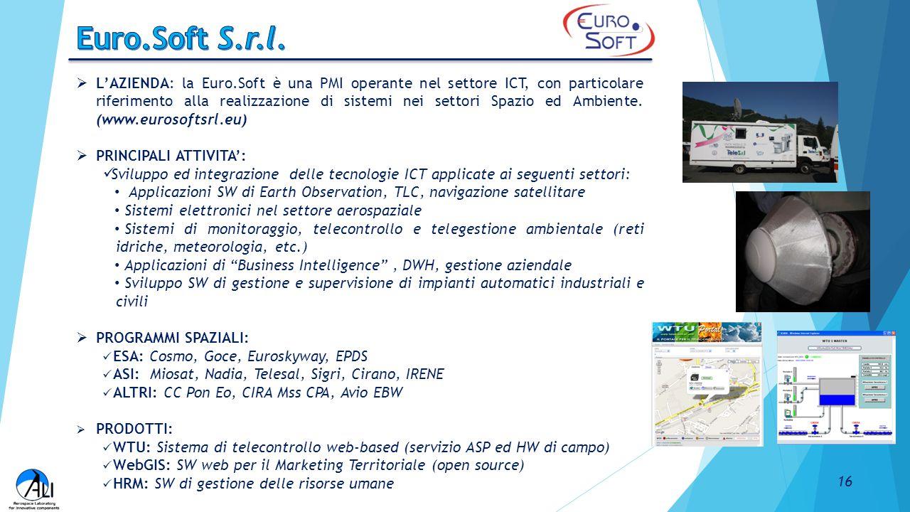  L'AZIENDA: la Euro.Soft è una PMI operante nel settore ICT, con particolare riferimento alla realizzazione di sistemi nei settori Spazio ed Ambiente