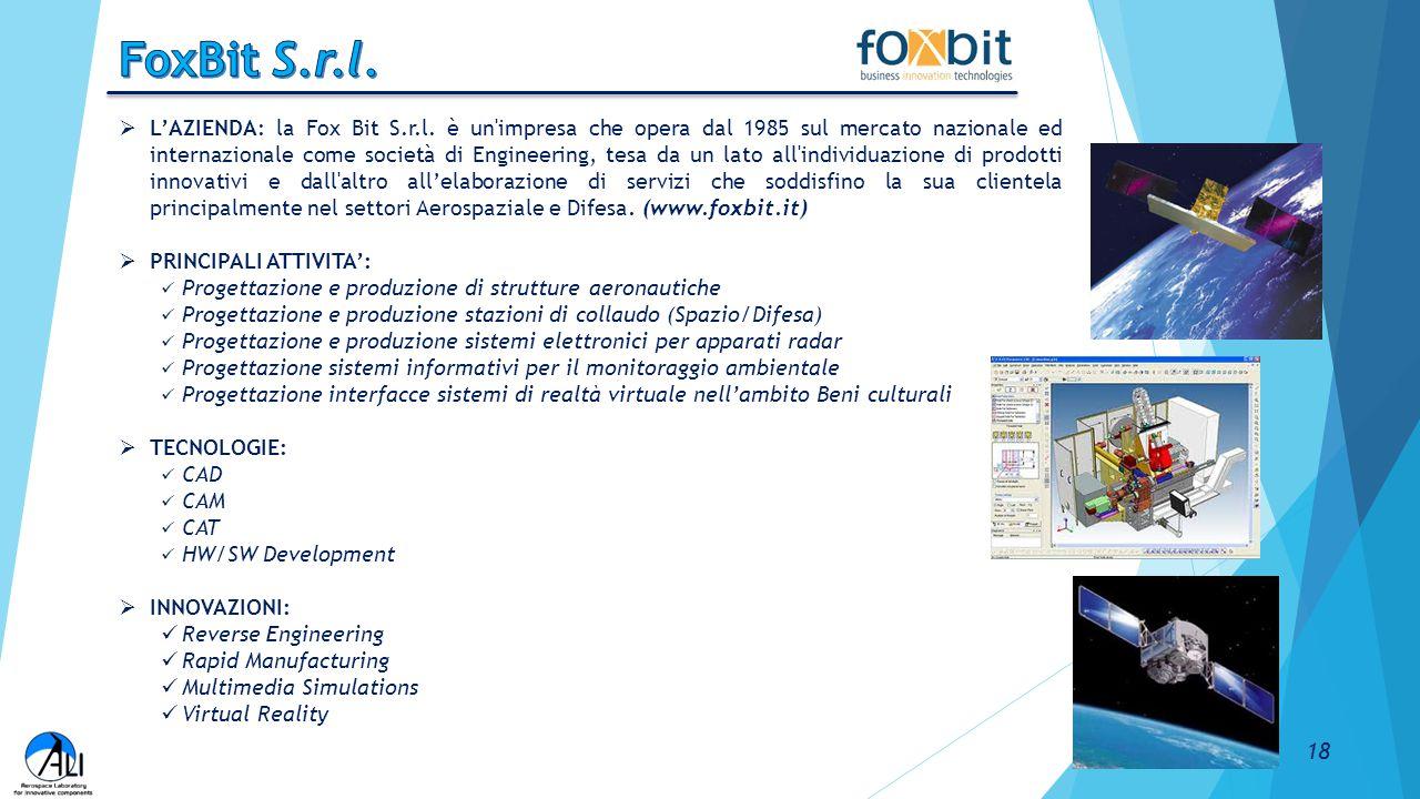  L'AZIENDA: la Fox Bit S.r.l. è un'impresa che opera dal 1985 sul mercato nazionale ed internazionale come società di Engineering, tesa da un lato al