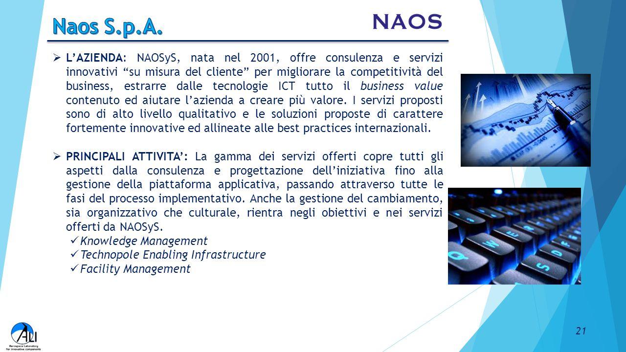 """ L'AZIENDA: NAOSyS, nata nel 2001, offre consulenza e servizi innovativi """"su misura del cliente"""" per migliorare la competitività del business, estrar"""