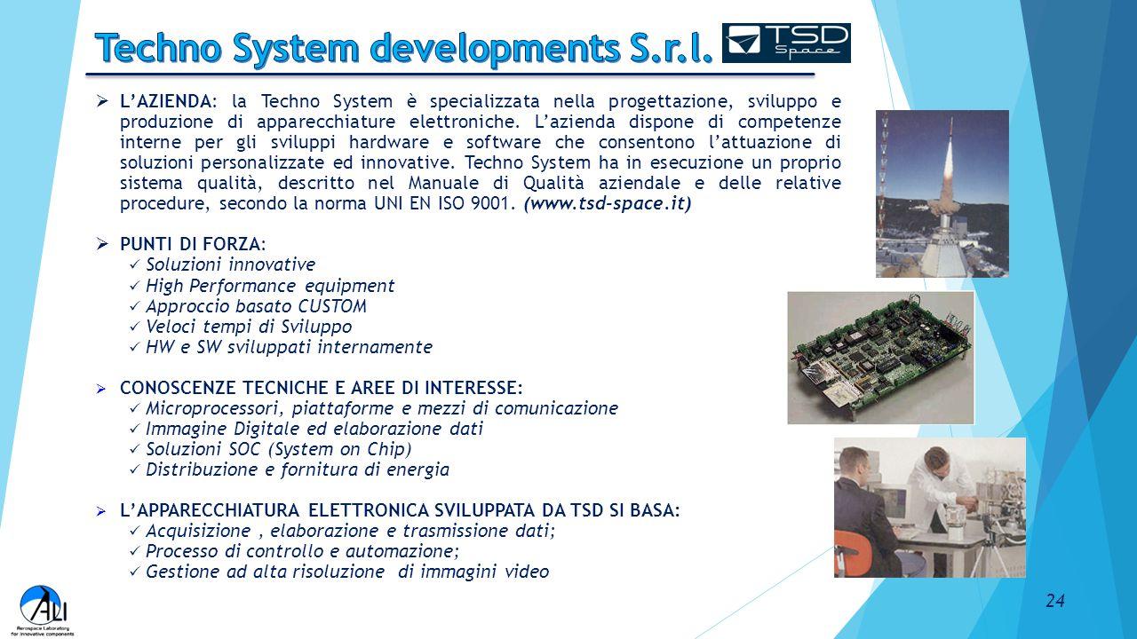  L'AZIENDA: la Techno System è specializzata nella progettazione, sviluppo e produzione di apparecchiature elettroniche. L'azienda dispone di compete